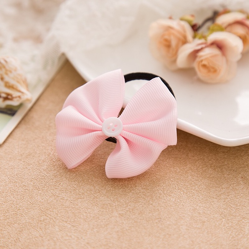 Hair Rope Graceful New Wave Point Hair Clips Hair Band Princess Bowknot Kids Cloth Children Adjustable Elastic Girls 1Pair Kid in Hair Accessories from Mother Kids