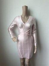 V Neck Long Sleeve Mini Stamping Bandage Dress