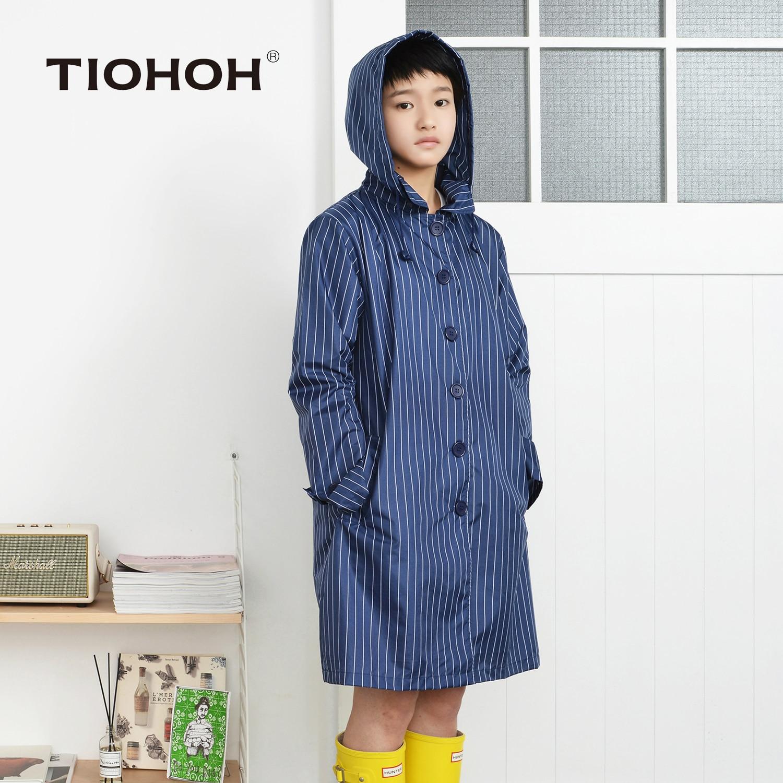 Tiohoh 100% Polyester Raincoat Women Jacket Stripe Style Tour Waterproof Rainwear Fashio ...