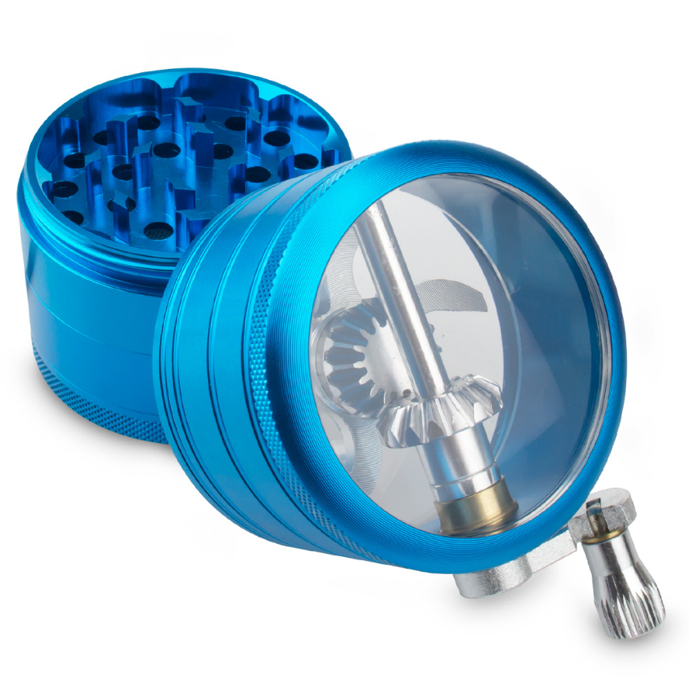 Image 3 - Formax420 4 Pieces 2.0 Inch Metal Grinder Spice Mill Blue Mechanical Handle Grinder-in Tobacco Pipes & Accessories from Home & Garden