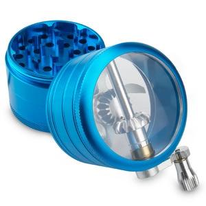 Image 3 - Formax420 4 Pieces 2.0 Inch Metal Grinder Spice Mill Blue Mechanical Handle Grinder