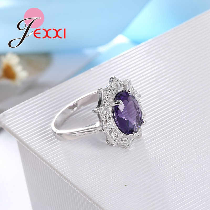JEXXI Elegant Fashion 925 Sterling Silver Cubic Zirconia Wedding Engagement Rings For Woman Anillos Bijoux Luxury Promise Ring