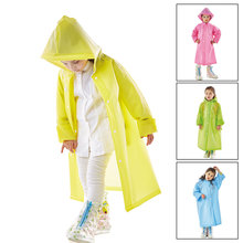 1PC Good quality Impermeable Kids fashion waterproof EVA long heavy rain raincoat hooded children outdoor rainwear in Handbag