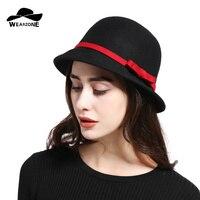 2017 Yeni Kadınlar Yün Bowler Disket Vintage Yay Fedora Şapka Kadın güneş Şapka Düz Dome Oval Üst Melon Şapka Fötr Şapka Keçe