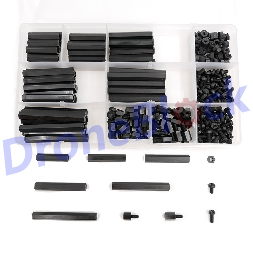 290Pcs M3 Black Nylon tapped Spacer Hex standoff Female/Male to Female Screw Nut Kit Hex Column for RC Quadcopter parts PCB