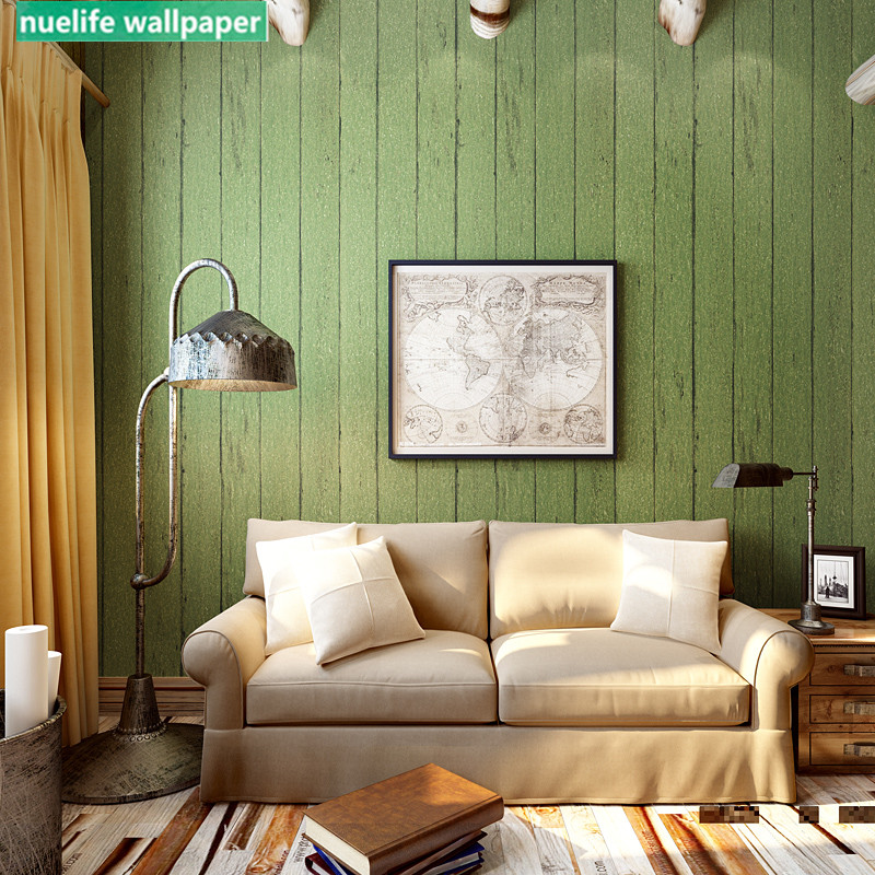 US $27.9 10% OFF|Vintage Green Stripe Imitation Wood Pattern Nonwoven  Wallpaper Study Room Bedroom Living Room Sofa TV Background Wall Paper-in  ...