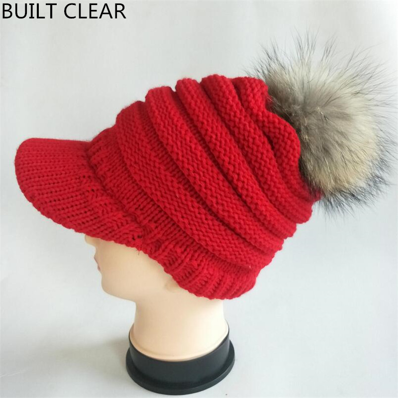 (BUILT CLEAR) new autumn and winter women knitting hat real raccoon boy hair ball 15cm handmade wool hat leisure warm hat fashion autumn and winter knitting wool hat men and women winter cap lovely hair ball beanies bone gorros accessory colorful new