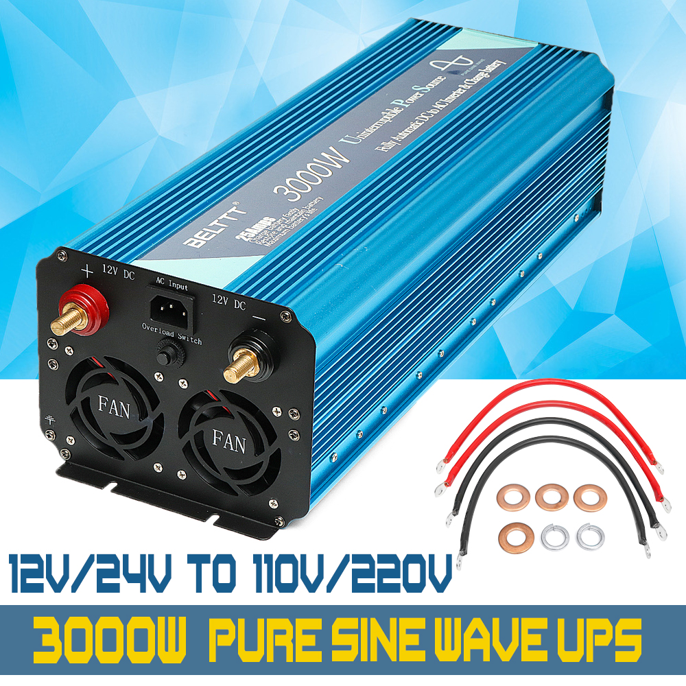 3000W 12/24V to 110V/220V UPS inverter Max 6000W Pure Sine Wave Inverter +Charger power supply with USB Charger
