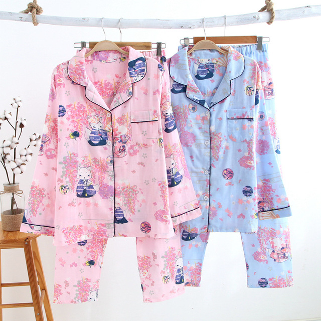 Sexy Wisteria fox cotton pajama sets women spring long sleeve 100% gauze  cotton cozy cute fox pijama mujer casual pyjamas women 574041d76