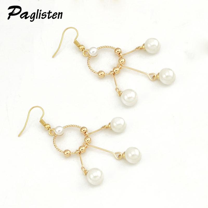 PAGlisten Hot Sale Top Quality Romantic Imitation Pearls Pendant Drop Earrings Retro tassel earrings SKU5747