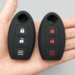 Image 5 - Chave eletrônica para carro, proteção de chave, para nissan 2017 2018 qashqai skyline juke alissa x trail 2 botões, borracha remota, silicone conjunto de capa de proteção