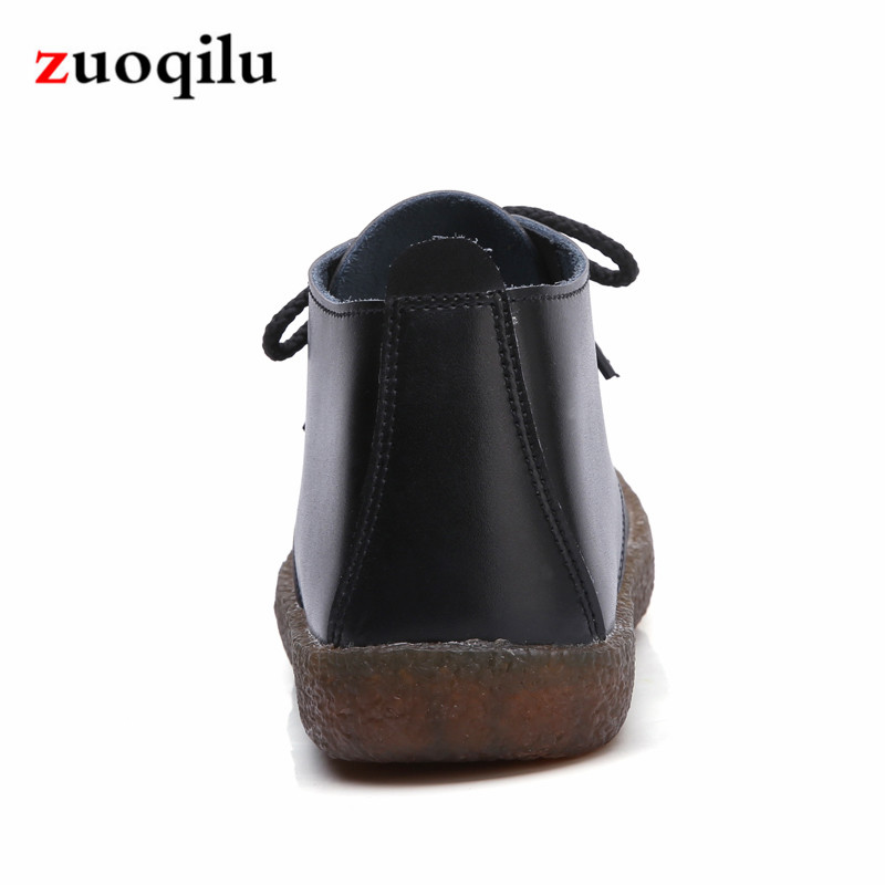 Hiver Noir Chaussures En Cuir Cheville Martin Bottes White Blanc Véritable Plat black Automne Femmes vzw8qxE