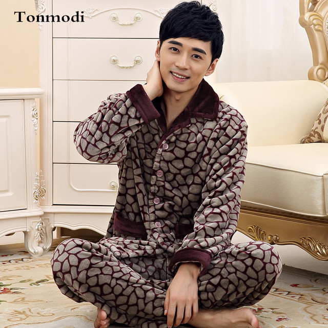 a67fa230f8 New Luxury Men s Pajamas Warm Autumn And Winter Flannel Sleepwear  Thickening Mens Pyjamas Sleep Lounge Pajama