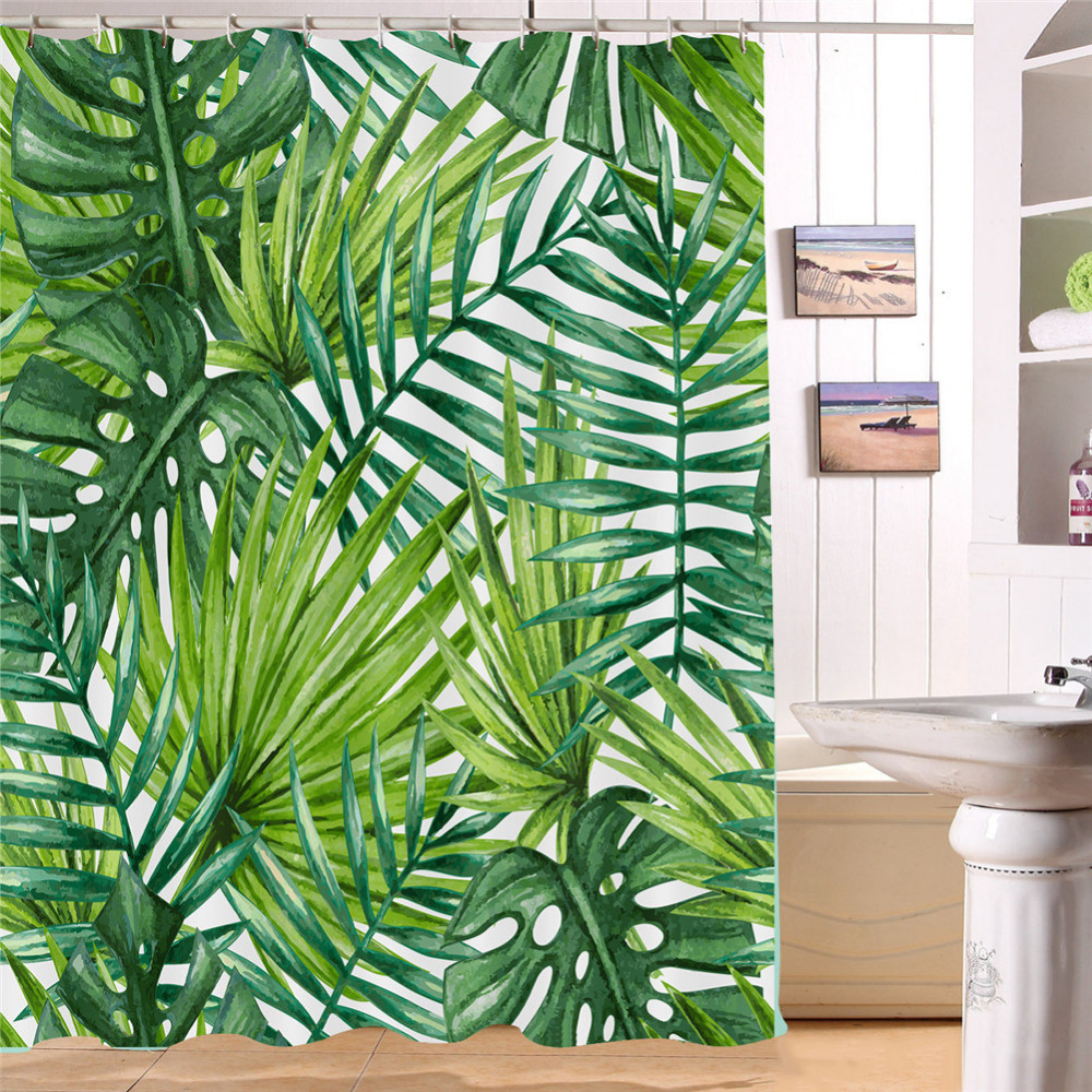 Nordic Style Palm Leaf Shower Curtain Tropical Plants Printed Floor Mat For Bathroom Waterproof 3D
