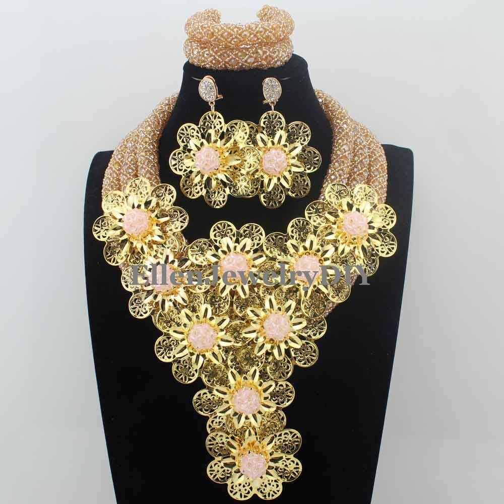 купить Romantic Indian Crystal African Beads Statement Necklace Set Pink earrings Flower Jewelry Set for Women Free Shipping W13752 по цене 4364.76 рублей