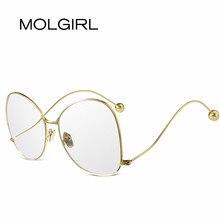 MOLGIRL Llanura Gafas Marcos de anteojos de la Vendimia Azul Lente de Cristal Óptico de Diafragma Grande Mujeres Hombres gafas armação oculos de sol