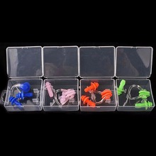 Portable Swimming Waterproof Soft Silicone Set Earplugs + Nose Clip + Case Pool Accessories Water Sports
