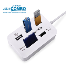 50pcs USB 2.0 Hub Reader Card,USB Splitter 480Mbps For MS M2 SD MMC TF For MacBook PC Laptop All in One USB Combo wholesale
