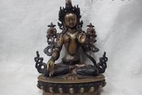 100% purple Copper Bronze Bodhisattva padma White TaRa Kwan Yin GuanYin Goddess
