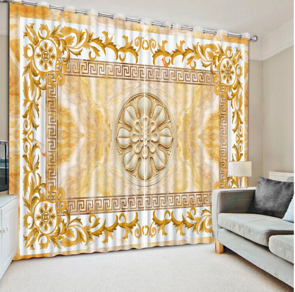 Yellow patterned curtains - Custom Hooks Curtains New Home Decor Blackout Curtains European Pattern Curtain Living Room China