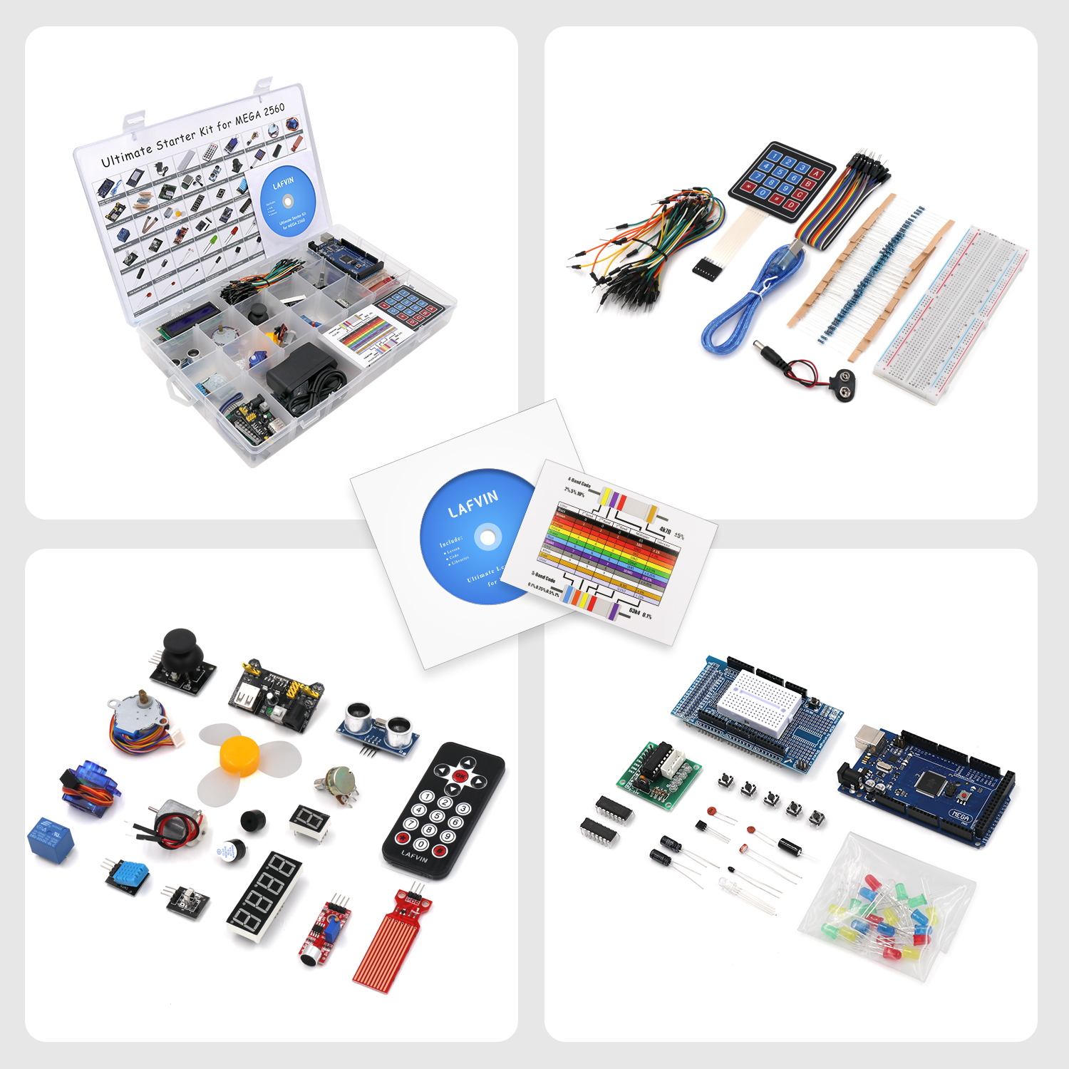 Breadboard Resistor Led For Arduino Uno Lafvin Electronic Fun Kit Bundle With Power Supply Module Capacitor