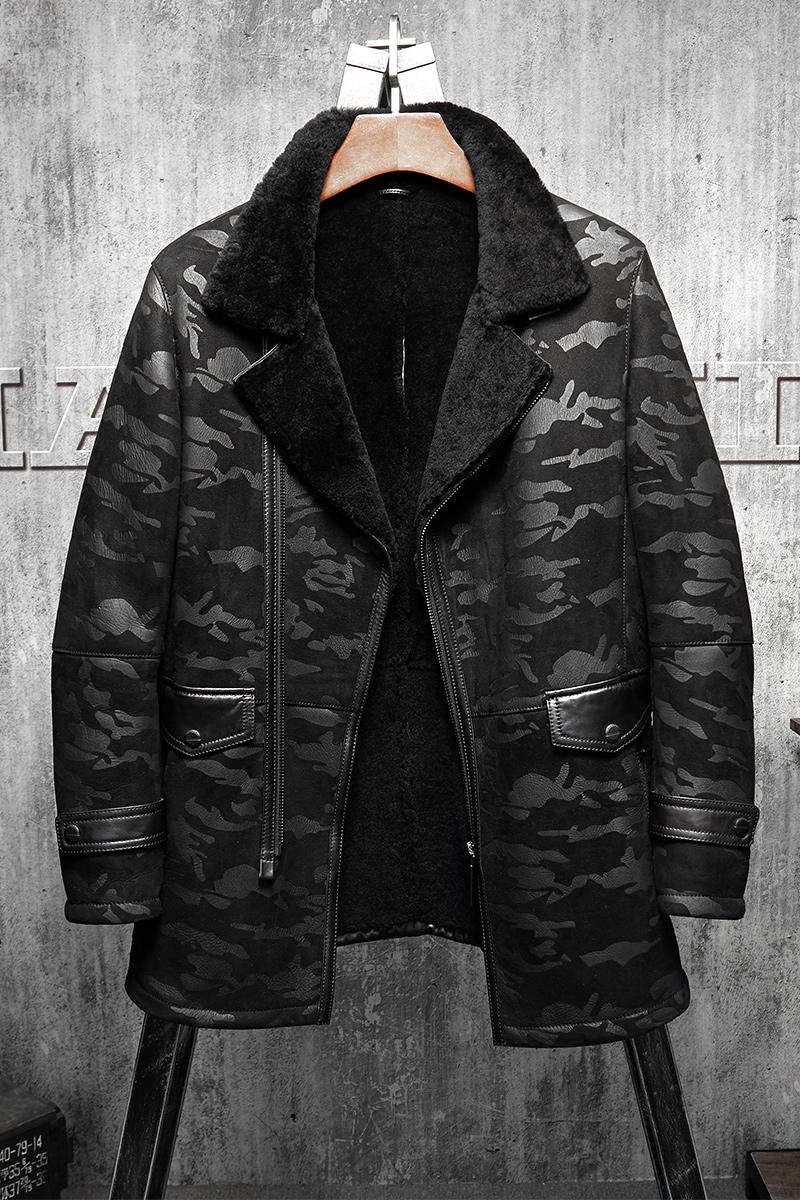 B3 Jacket Men S Shearling Leather Jacket Black Camouflage Original