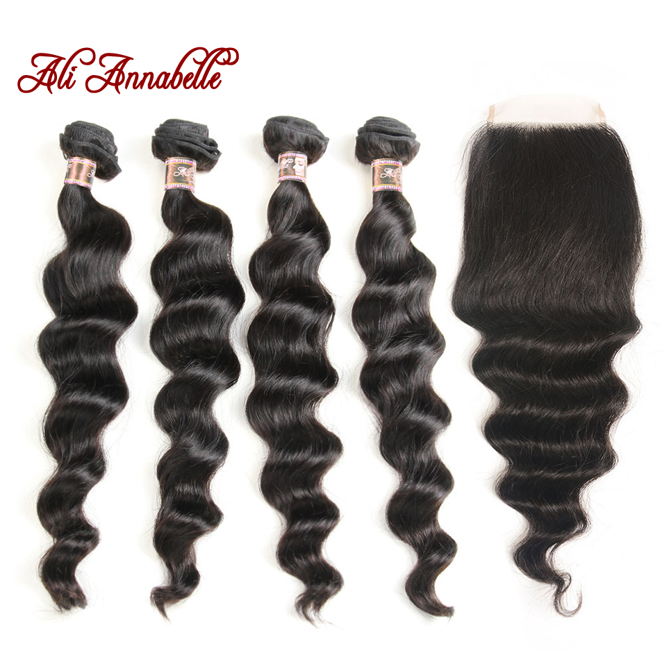 ALI ANNABELLE HAIR 4 4 Lace Closure With Bundles Indian Loose Wave Human Hair 4 Bundles