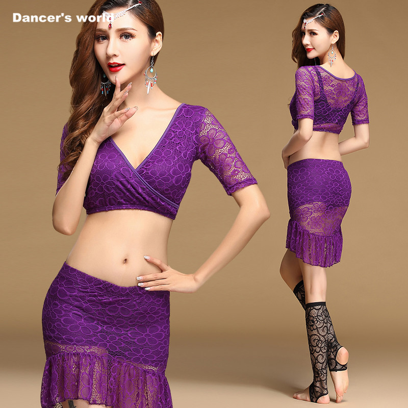 Women belly dance clothes sexy deed V top+lace skirt 2pcs belly dance set girls belly dance suit