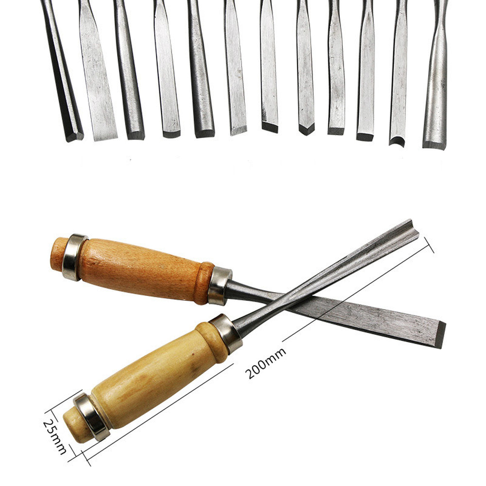 12pcs set Carving Chisels Knife Assorted Wood Alloy Steel Skew Sculpting Tool Set Wood Carving Tools Chisel Set Knives in Chisel from Tools
