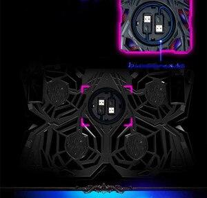 Image 2 - Кулер для ноутбука с 2 портами usb и 6 охлаждающими вентиляторами Бесшумная охлаждающая подставка для ноутбука Подставка для ноутбука 12 16 дюймов приспособление для ноутбука