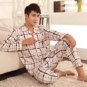Image 3 - Thoshine Brand Spring Autumn Winter Men 100% Cotton Pajamas Sets of Sleep Top & Pants Male Pijama Casual Home Clothing Sleepwear