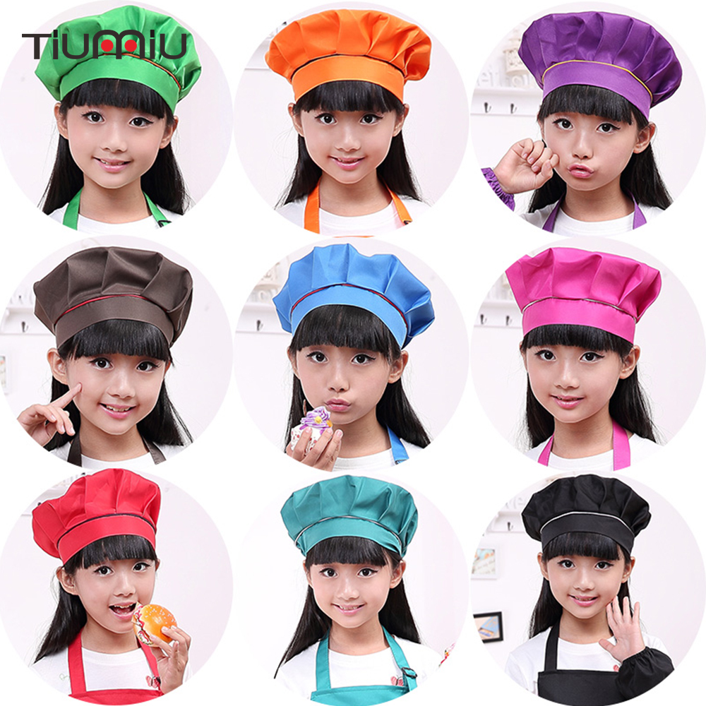 Kid Chef Hat Children's Baking Hat Cute Girls Boys Food Service Kitchen Work Caps Solid Pleated Top Painting Hats Wholesale