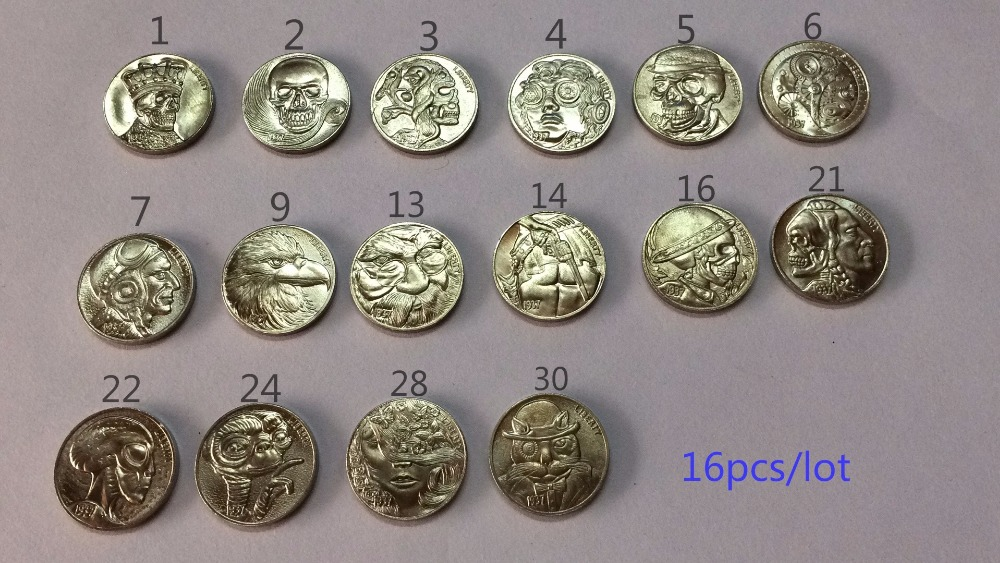 Hobo Nickel Coins whole set 16 pcs 1937 D 3 Legged Buffalo Five Nickles Cent