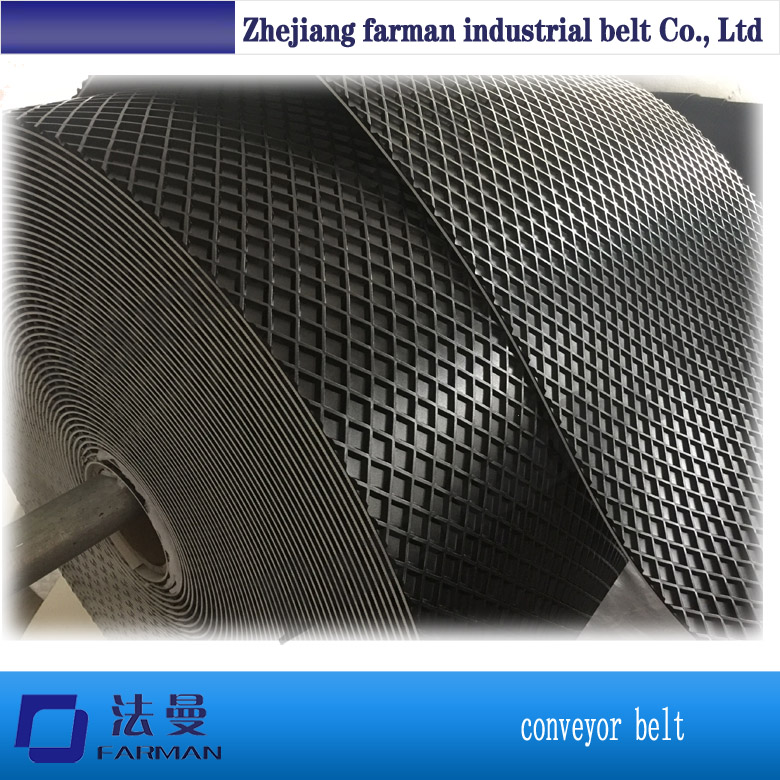 diamond pattern PVC conveyor belt price for sanding machine grass pattern rough surface green pvc skid conveyor belts
