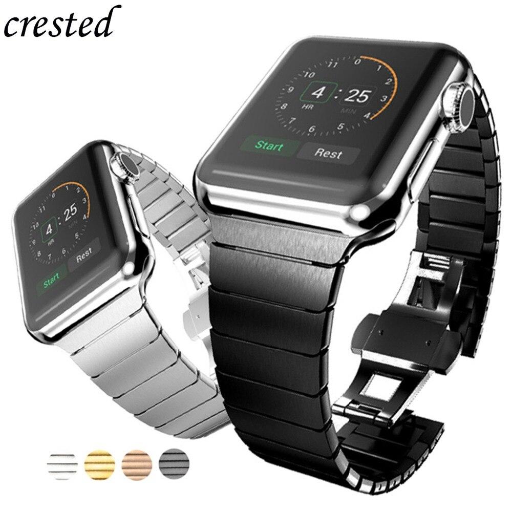 Cinturino in Acciaio Inox per Apple Watch band 42 millimetri/38 millimetri iwatch 4 3 band 44 millimetri 40 millimetri della Vigilanza del braccialetto correa Farfalla In Metallo fibbia Della Cintura