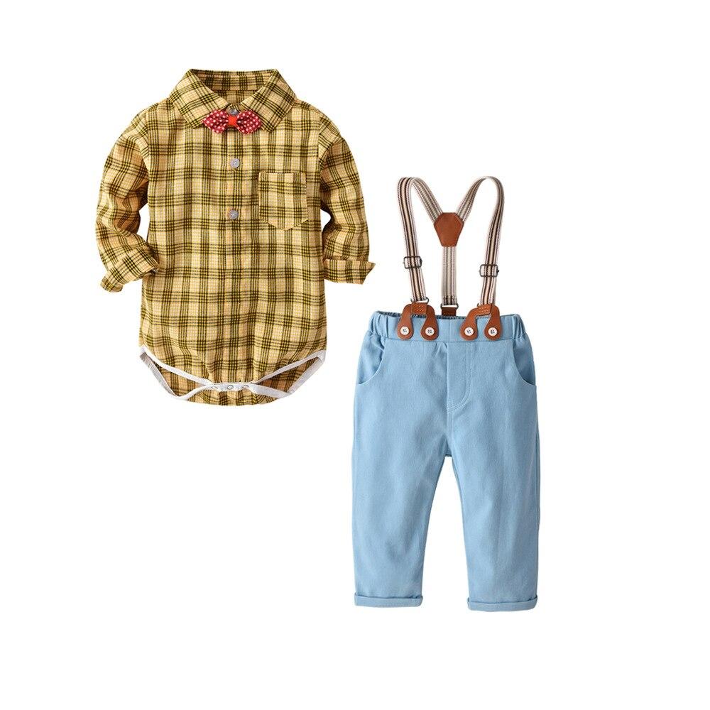 7892be020225 Gentleman baby boy clothes fashion bow tie shirt +pants boy set ...