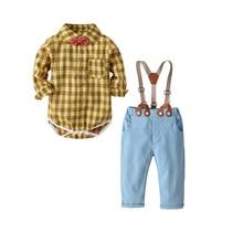 купить QAZIQILAND Spring Autumn Fashion infant clothing Baby Suit Baby Boys Clothes Gentleman Bow Tie Rompers + Vest + pants Baby Set дешево