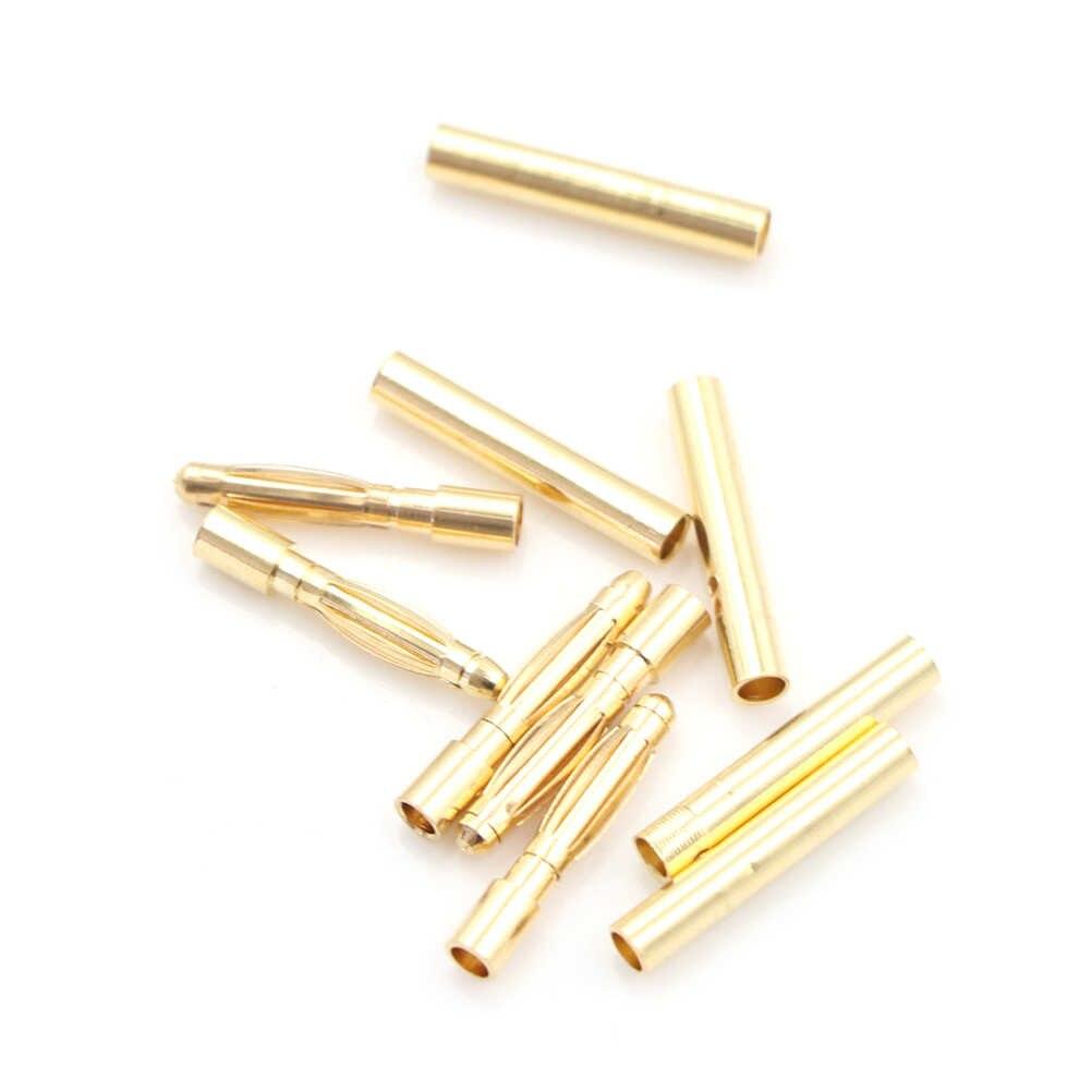 """5 пара/лот 2 мм золото Медь безщеточный Разъем типа """"банан"""" Пуля разъем покрытием для ESC Батарея"""