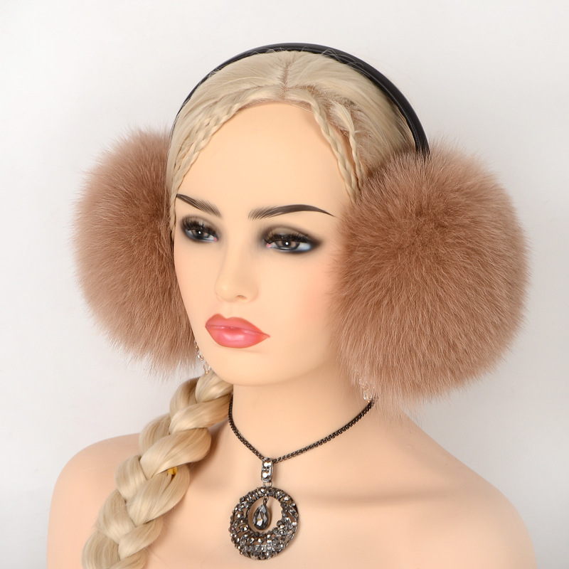 JKP 2018 Autumn And Winter Warm Fashion Music Headphones Real Fox Fur  Earmuffs Outdoor Cold Men And Women Ear Warm EZ-03