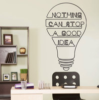 Boa Idéia Bulbo Palavras Citação Motivação Parede Decalque Início Art Decor Adesivo citação decalque da parede do Vinil citações inspiradas YO-1
