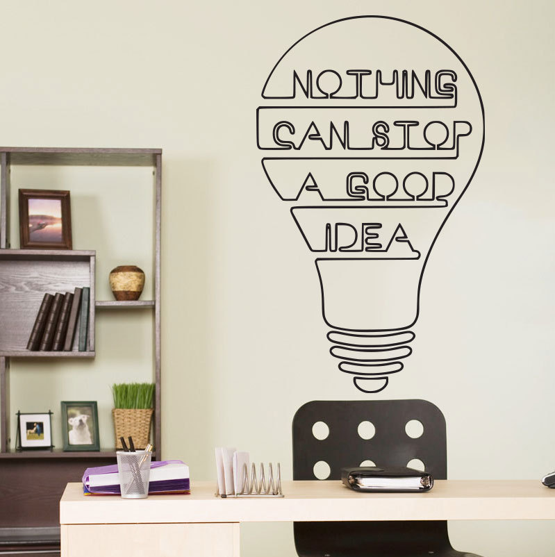 Good idea bulb words motivation quote wall decal home for Home decor quotes on wall