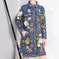 [Soonyour] 2017 весной новый лацкан Цветок Блестка С Длинным Рукавом Свободные Пальто Длинный жан синий пиджак женская мода прилива HA02985