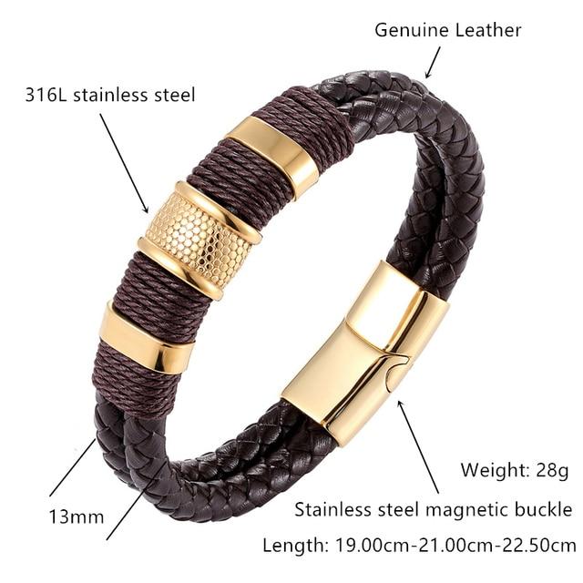 Фото мужские кожаные браслеты многослойные черные и коричневые из цена