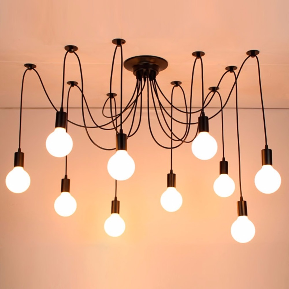 Country black spider chandelier lamp Vintage Retro Pendant Lamps Edison Creative Loft Art Decorative DIY Chandelier Light led nordic vintage chandelier lamp pendant lamps e27 e26 edison creative loft art decorative chandelier light chandeliers ceiling