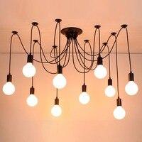 País preto aranha lâmpada lustre Retro luminária de suspensão vintage luzes da sala de jantar luminárias de quarto iluminação de lustre iluminação da sala de estar Iluminação Residencial Lustre Luminária Quarto  Sala