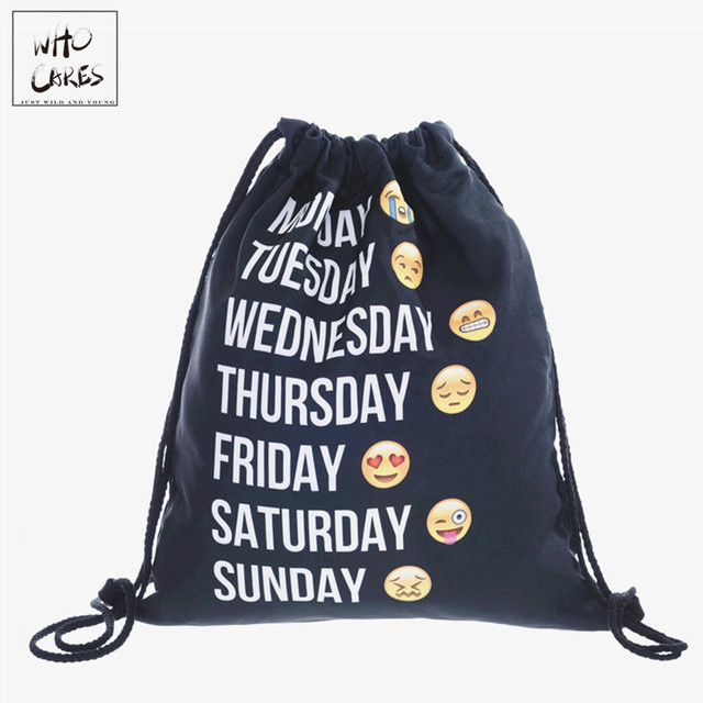 9bf0f9a6ac who cares Backpack Emoji black 3D printing 2018 Fashion travel softback  women mochila drawstring bag mens backpacks sac a dos
