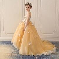 Уникальный Королевский платье принцессы 2018 Новый Дизайн Платье в цветочек для девочек со шлейфом бальное платье Бисер Детская Вечеринка пл