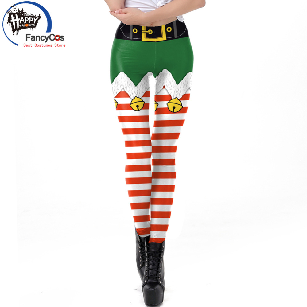 2018 Sexy Strip Pants Christmas Fashion X'mas Printed Trousers Fitness Tight Santa Claus Festive Gift Print Cotton Full Length