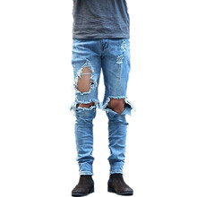 Fashion 2019 Spring autumn Casual big ripped hole high street denim street hip hop nightclub teenagers slim Distressed jeans men