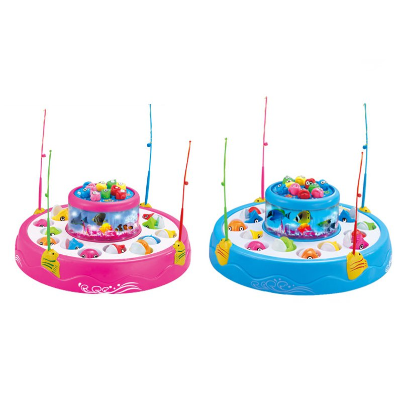 kids fishing toys set children educational toy musical gifts electric rotating fish game magnetic outdoor sports For Blocks
